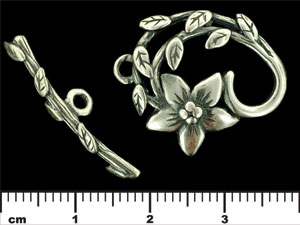 Floral Vine Toggle Set: Antique Silver