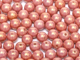 Czech Rund Beads 3mm 14495 Chalk White Red Luster